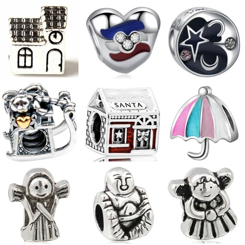 Beads Punk Style Enamel Love Heart Umrella Santa House Monkey Flower Charm Beads Fit Pandora Bracelets For Women Diy Making Jewelry