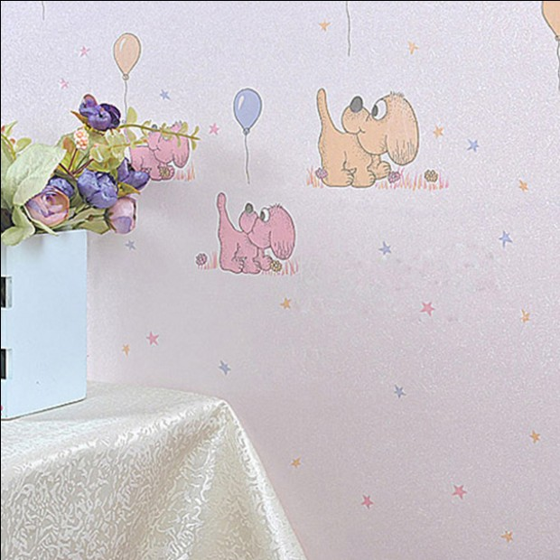 2016 new hot selling modern cartoon children bedroom wallpaper Yellow dog balloon cute boy bedroom TV background wall paper<br>