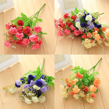 1pcs 24 Head Artificial Chrysanthemum Carnation Fake Bush Bouquet Home Wedding home decora drop shipping tion