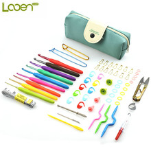 Looen Brand 67Pcs/set Crochet Hooks Set With Green Case Multicolor Handle Yarn Stitches Knitting Needles Case Set For Hand Craft