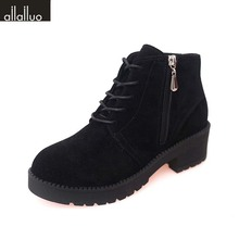 Autumn Winter Side Zip Suede Leather Ankle Boots For Women Med Heel Short Black Boots