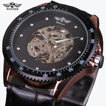 Winner 2017 Fashion Black Golden Star Luxury Design Clock Mens Watch Top Brand Luxury Mechanical Skeleton Watch Male Wrist Watch(China)