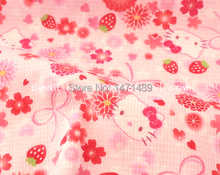 hk134 - 1 Yard Japanese Slub Fabric Collection - Sanrio Cartoon Characters, Hello Kitty, Bow, Cherry blossoms, Strawberry (W120)