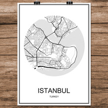 Abstract World City Street Map ISTANBUL Turkey Print Poster Coated Paper Cafe Living Room Home Decoration Wall Sticker 42x30cm