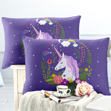 Princess Unicorn Pillowcase for Girls Cartoon Pillow Case Plant Floral Printed Pillow Cover Envelope Pocket Bedclothes Bedding(China)