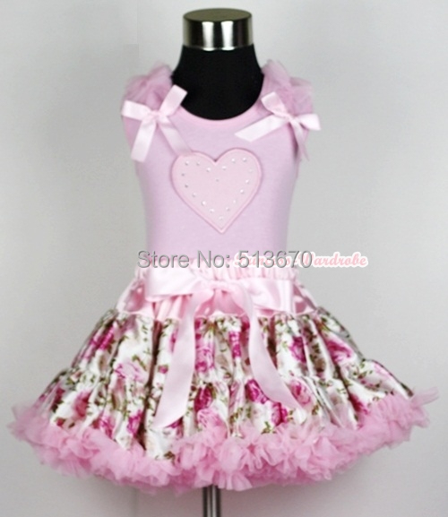 Light Pink Floral Rose Pettiskirt Dress Valentine Heart Ruffle Bow Pink Top 1-8Y MAPSA0231<br>
