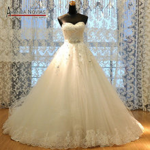 Vestido de Noivas New Lace Designer Real Photos Ball Gown Puffy 2015 Wedding Dresses New Patterns R-358