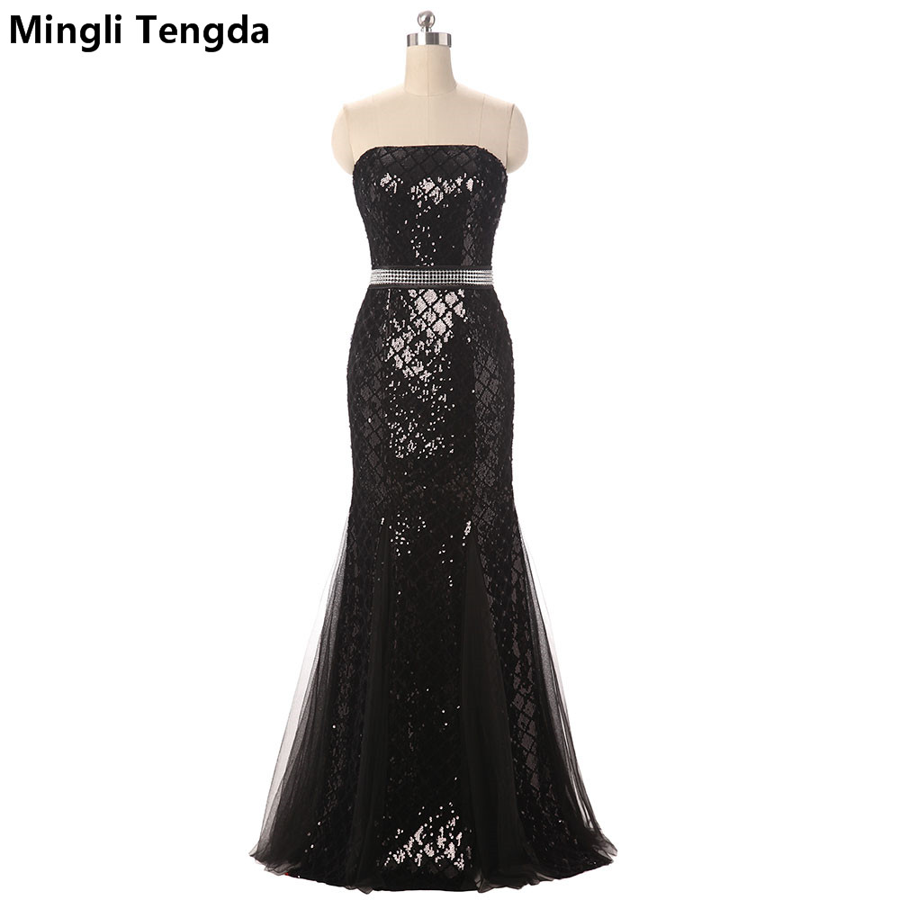 Mingli Tengda 2017 New Black Long Evening Dresses Sexy Sequin Evening Dress Long Strapless Dresses Robe Soiree 2017 Sashes Gown