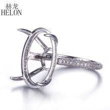 HELON Solid 14K White Gold Oval Cut 11x16-14x19mm Semi Mout Pave 0.42ct Diamonds Engagement Ring Claw 4 Prong Setting Wholesale(China)