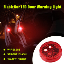 2pcs/set Car LED Door Opened Signal Warning Strobe Light Wireless Flash Decorative Indicator Hit Avoid Lamp Red Yellow Blue(China)