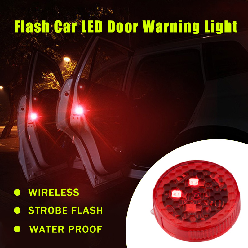 2pcs/set Car LED Door Opened Signal Warning Strobe Light Wireless Flash Decorative Indicator Hit Avoid Lamp Red Yellow Blue(China (Mainland))