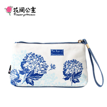 Flower Princess Brand Women Canvas Long Organizer Wallet Girl Fashion Clutch Bag Purse Ladies Handy Bag Girls Coin Cellphone Bag