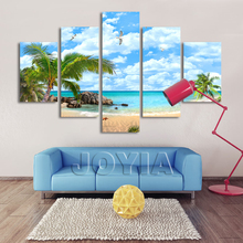 5 Piece Canvas Art Hawaii Seascape Paintings Coconut Trees Palm Beach Decorative Wall Pictures Coast Nature Art Prints No Frames