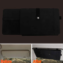 Car Styling 1Pc Car Sun Visor Sunvisor Storage CD Plate Disk Cards Holder Pocket Wallet 12 Compartments for Corolla Cruze