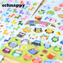 5 sheet  Children Cute Owl Giraffe Reward Stickers School Teacher Merit  Praise Sticky Class Paper Lable  Kids Classic Toys