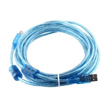 High Quality High Speed 480 Mbps Male to B Male 5M USB Extension Cable Ethernet Cable Computer LAN Internet Network Cord Blue