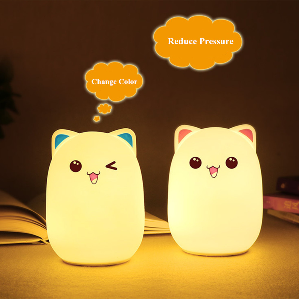 Colorful LED Night Light Lovely Silicone Cartoon Bear Rechargeable Touch Desk Bedroom Decor Tablet Lamp for Kids Girl (2)
