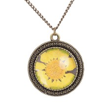 Antique Bronze Color Glass Floating Locket  Dried Flower Real Daisy Necklaces Women Sunflower Round Shaped Necklace DIY Jewelry