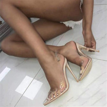 Buy BAYUXSHUO Sexy PVC High Heel Sandals Summer Women Pointed Toe Stiletto Rome Slingback Sandals Fetish Club Party Shoes Woman