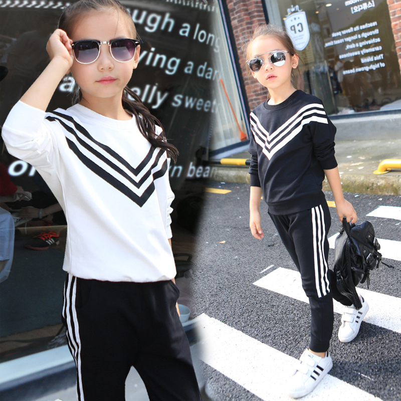 Girls Sports Suits Striped Tracksuits For Girls Clothing Sets Long Sleeve Cotton Sportswear  Kids Outfits 2 4 6 8 10 12 Years <br><br>Aliexpress