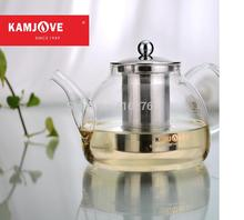 free shipping Kamjove a series of tea cup tea pot elegant cup glass tea set flower tea cup Stainless steel filter glass teapot(China)