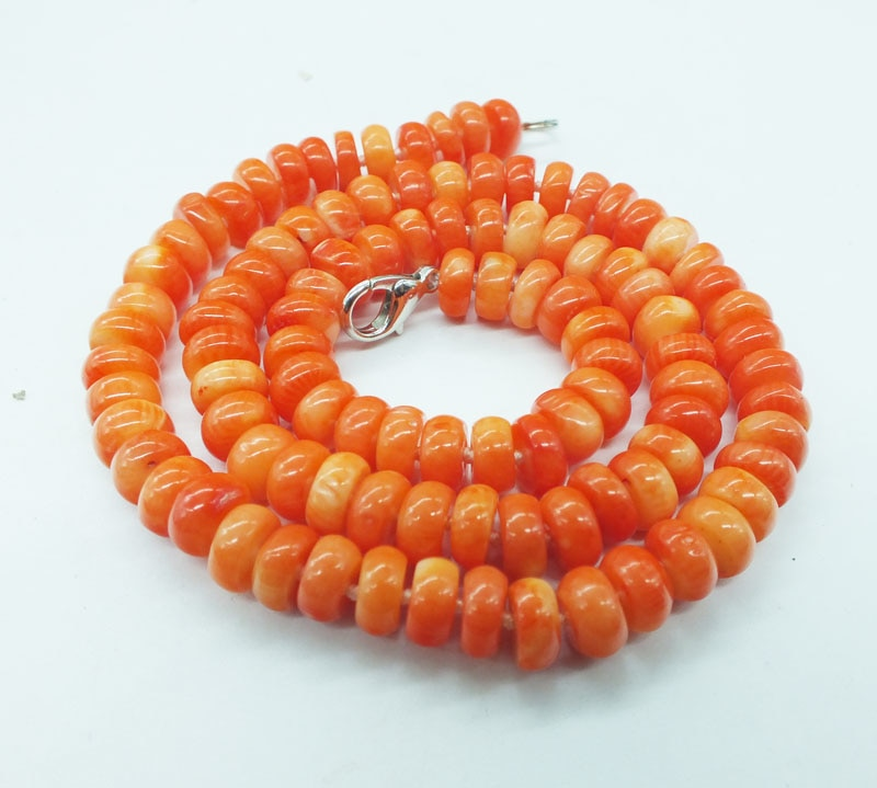 2019-  Classic bridal coral necklace. 8MM high quality,natural orange coral necklace  19""
