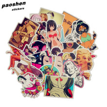 50Pcs/Lot Styling Pvc Waterproof Sexy beauty Girls Stickers For Laptop Motorcycle Skateboard Luggage Decal Toy Sticker(China)