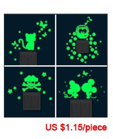 Hot sale New 1PCS Luminous Cartoon DIY Switch Sticker for kids room Wall Sticker Decoration Fluorescent Living Room Home Decor