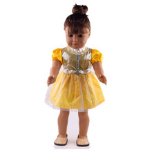 Lovely yellow dress fit 18 inch American girl doll is the best birthday gift in the United States(without shoes) b769