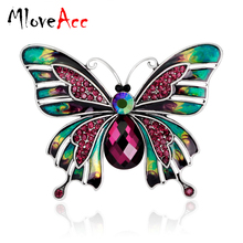 MloveAcc Vintage Large Enamel Esmaltes Butterfly Brooches Corsage Brooch Lot Wedding Broach Violetta Insect Hijab Pin Up Broches(China)