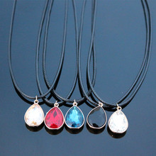 N835 Crystal Drop Pendant Necklace Imitation Leather Rope Chain Collares Bijoux For Women Colier Fashion Jewelry HOT Selling(China)