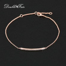 Double Fair Cubic Zirconia Stick Bar Bracelets & Bangles Silver/Rose Gold Color Fashion Jewelry Hand Chain Gift For Women DFH126(China)