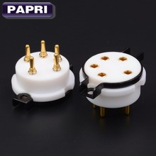 EIZZ Teflon 5pin 24K Gold Plated Brass Pins WE311 Tube Sockets  Audio HIFI DIY Tube Amps WE311