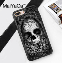 Skull Flowers Tattoo Sketch Printed Mobile Phone Case Cover For iPhone 7 7 Plus 6 6S Plus 5 5S 5C SE 4 Soft TPU Back Shell Cover