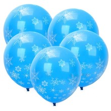 New 12 Pc Blue with White Snowflake Ice flower Star Pattern Latex Balloons for Party Wedding Celebrate Room Decorative Balloons