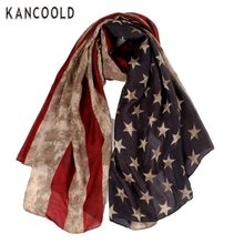 Garment Retro Women Lady Stars Print Shawl Voile Flag Scarf For Ladies Large Long Soft Neck Scarf Warm Wrap Scarves