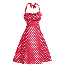 High Quality Summer Women Halter Dress Vestidos Retro 1950s 60s Vintage Dress Sexy Polka Dots Rockabilly Evening Party Dresses