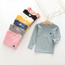 2-8t long sleeve shirt cotton boys girls t-shirt small Trojan coat pocket decoration ruffle raglan shirts kids tshirt clothes