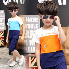 Children's clothing twinset casual male child set child summer child short-sleeve shorts cotton sports 2016