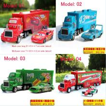 2pcs/set DISNEY Cars Lightning McQueen Metal Container with king mack Hauler Truck Diecast Toys Vehicles for Kids Children(China)