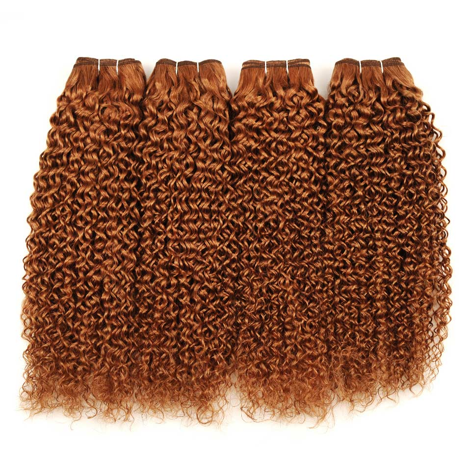 Pinshair Pre-Colored 10-26 Non-Remy Brazilian Jerry Curly Color 30 Hair Weave 4 Bundles 400GPack 100% Human Hair  Thick Wefts (64)
