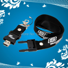 50pcs/lot Lanyard USB Flash Drive with Your Customized Logo for Company Promotional Free Shipping+Drop shipping
