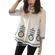 Spring Autumn Chinese Style Blouses Cotton Embroidery Loose Blouse Femme Casual Vintage White Blue Shirt Tops Plus Size M-4XL