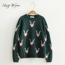 Shugo Wynne Pullover Sweater 2017 Autumn Winter Cute Christmas Elk Pattern O-neck Long Sleeve Knit Sweater Casual Tops Red Green(China)