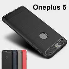 OnePlus 5 Case Luxury Shockproof Brushed Silicone Hybrid Carbon Fiber Soft Cover Shell Case One Plus 5 1+5 Five Capa Case