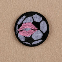 Sexy Lips Football Iron On Patches for Clothing Embroidery Appliques Patch Diy Apparel Accessories Clothes Fabric Free Shipping