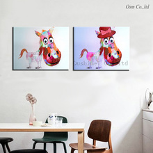 Hand-painted Lovely Pony Wall Art Beauty Funny Animal Home Decor Modern Oil Painting On Canvas Handmae Abstract Acrylic Pictures(China)