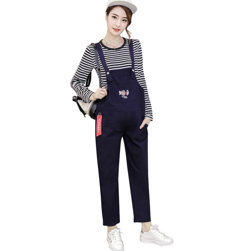 Pregnant Womens Set (Belt Pants + Long Sleeve) Fashion Striped Relaxed Pregnant Womens Siamese Pants Pregnant Pants Pregnant P<br>