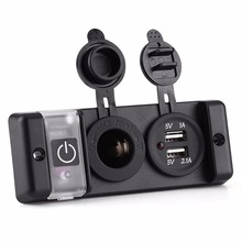 12V Car RV Marine Boat Waterproof Cigarette Lighter Dual USB Power Socket Switch Panel(China)