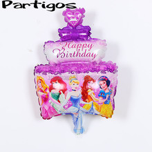 10pcs/lot PRINCESS Ariel Belle Cinderella girl kids Birthday Party decoration crystle CAKE Purple Mylar BALLOON